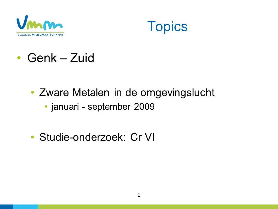 3 Genk: Ligging meetstations 2009