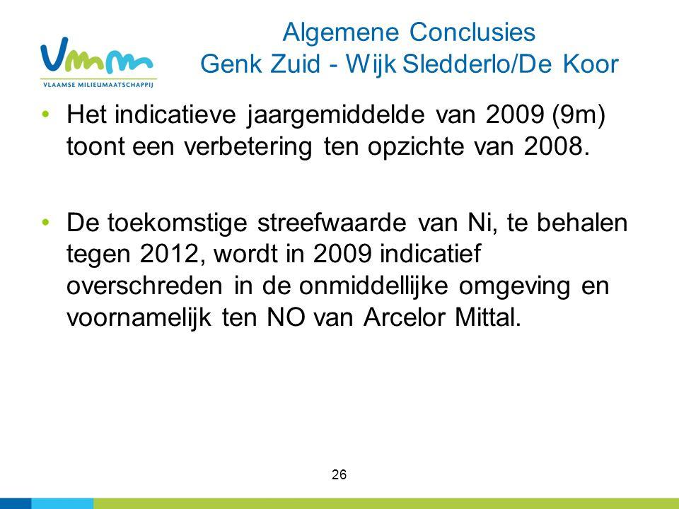 26 Algemene Conclusies Genk Zuid - Wijk Sledderlo/De Koor Het indicatieve jaargemiddelde van 2009 (9m) toont een verbetering ten opzichte van 2008. De