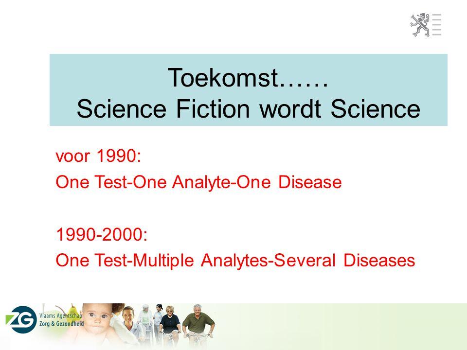 Toekomst…… Science Fiction wordt Science voor 1990: One Test-One Analyte-One Disease 1990-2000: One Test-Multiple Analytes-Several Diseases