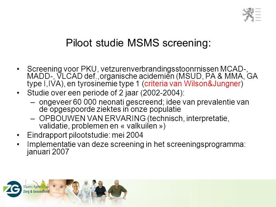 Piloot studie MSMS screening: Screening voor PKU, vetzurenverbrandingsstoonrnissen MCAD-, MADD-, VLCAD def.,organische acidemiën (MSUD, PA & MMA, GA t