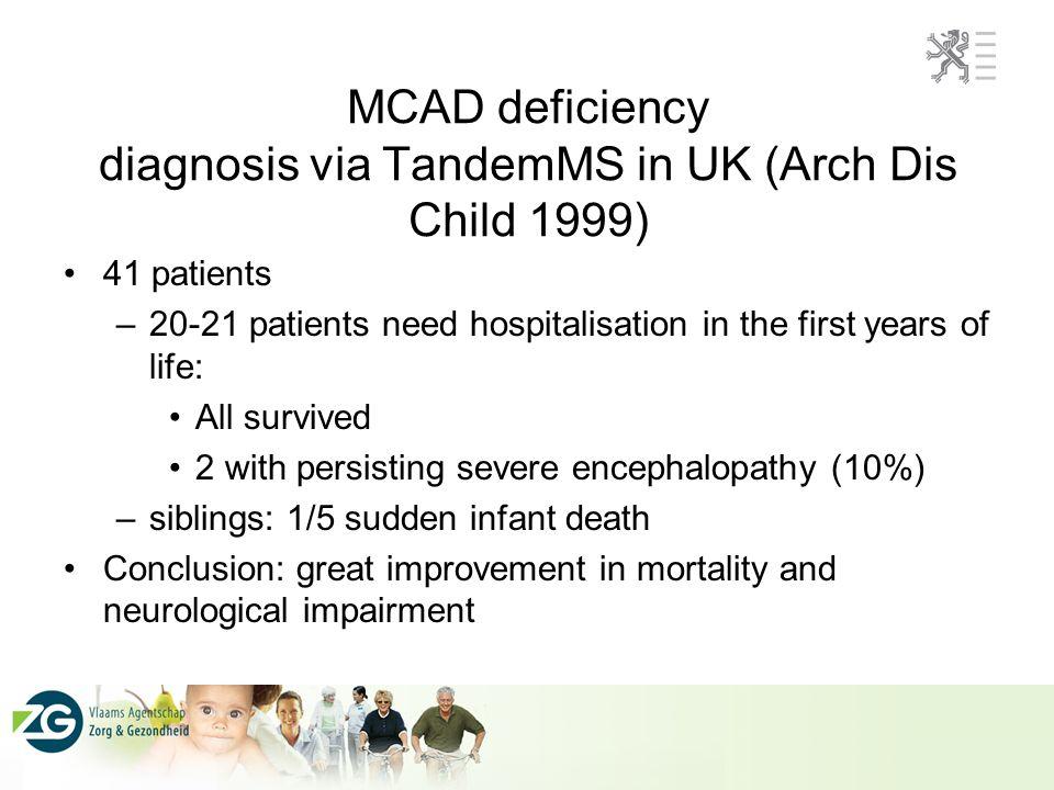 Situatie MCADD gevonden in Antwerpen voor screening Theoretisch: 12 patienten/12 jaar, 8 zouden symptomen ontwikkelt hebben ECHTER: 3 (2 A985G mutatie) patienten werden gediagnosticeerd: 2 met hypoglycemie, 1 met Reye-like syndroom als complicatie van varicella Screening resultaten met TandemMSMS (North- Carolina, Pennsylvania, Adelaïde, Sydney, Beieren): prevalentie van MCADD: 1/10.000 to 1/40.000.