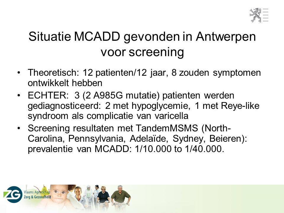 Situatie MCADD gevonden in Antwerpen voor screening Theoretisch: 12 patienten/12 jaar, 8 zouden symptomen ontwikkelt hebben ECHTER: 3 (2 A985G mutatie