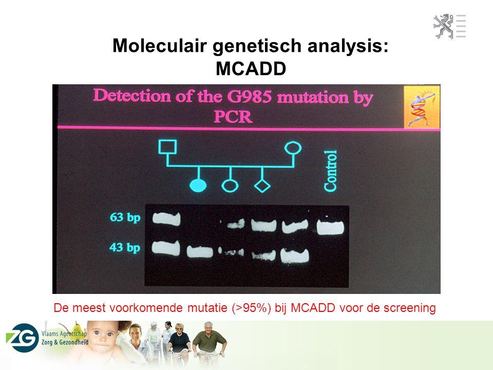 Diagnosis van MCADD tijdens het piloot screeningsprogramma na 1 jaar 2 pt gevonden door MSMS screening op 33.650 gescreende pasgeborenen Prevalentie: 1:17,000 (1:10,000-1:20,000) Molecular genetisch onderzoek: 1 samengesteld heterozygoot voor de mutaties 985G>A en 745G>A (G249R); de laatste is een nieuwe mutatie 1 homozygoot voor 985G>A mutatie