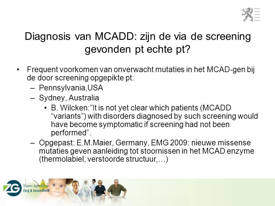 Diagnosis van MCADD: zijn de via de screening gevonden pt echte pt? Frequent voorkomen van onverwacht mutaties in het MCAD-gen bij de door screening o