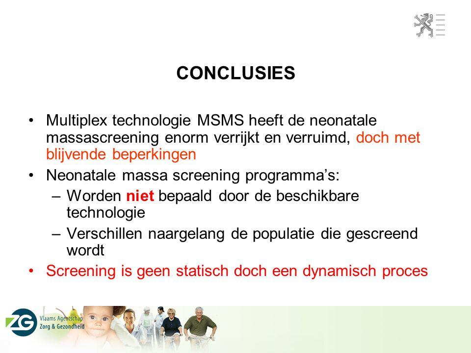 CONCLUSIES Multiplex technologie MSMS heeft de neonatale massascreening enorm verrijkt en verruimd, doch met blijvende beperkingen Neonatale massa scr