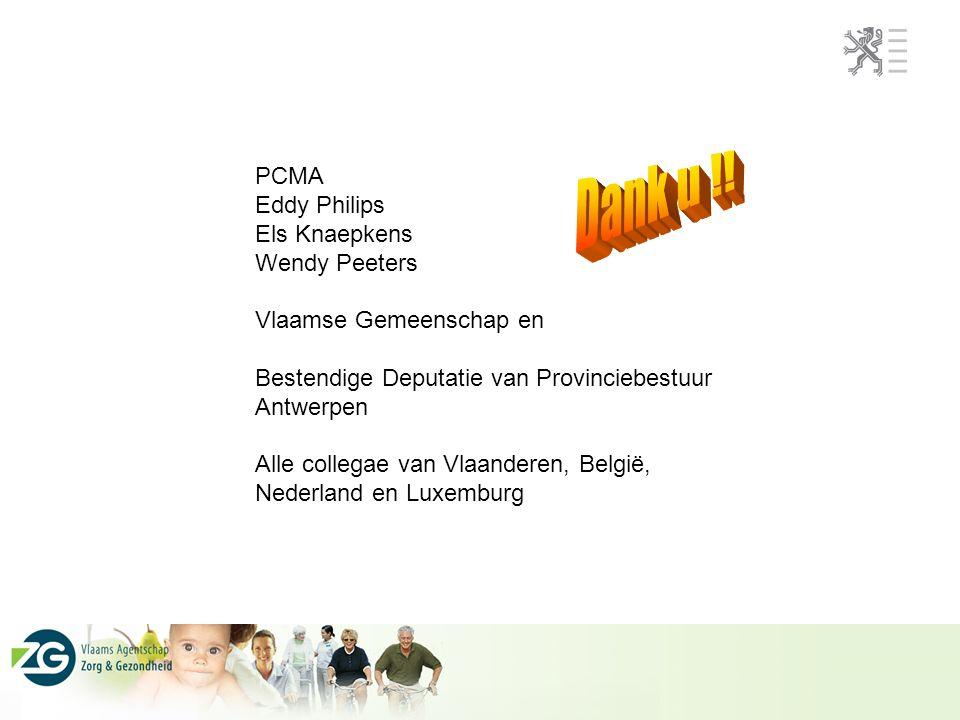PCMA Eddy Philips Els Knaepkens Wendy Peeters Vlaamse Gemeenschap en Bestendige Deputatie van Provinciebestuur Antwerpen Alle collegae van Vlaanderen,