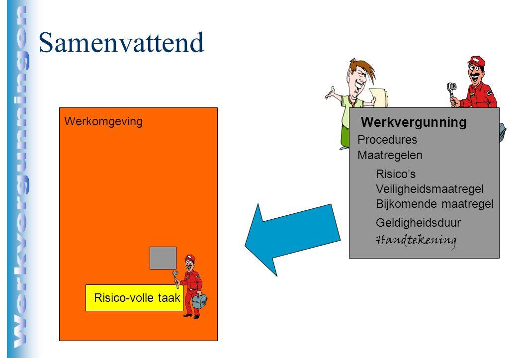 Samenvattend Risico-volle taak Procedures Maatregelen Risico's Veiligheidsmaatregel Bijkomende maatregel Geldigheidsduur Handtekening Werkomgeving Wer