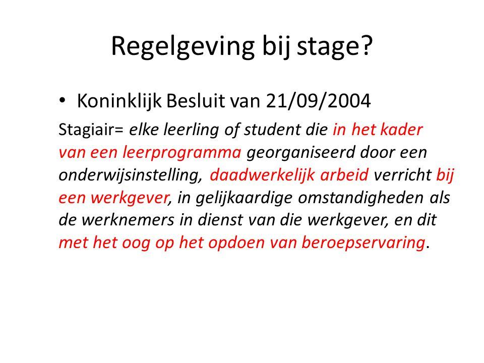 Regelgeving bij stage.