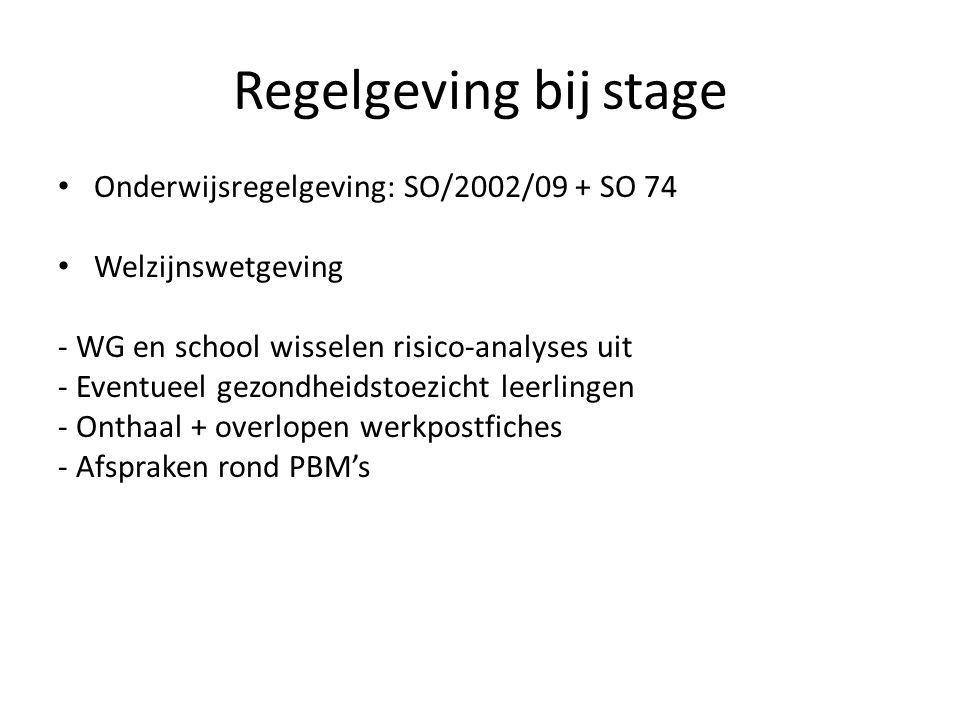 Regelgeving bij stage Onderwijsregelgeving: SO/2002/09 + SO 74 Welzijnswetgeving - WG en school wisselen risico-analyses uit - Eventueel gezondheidsto