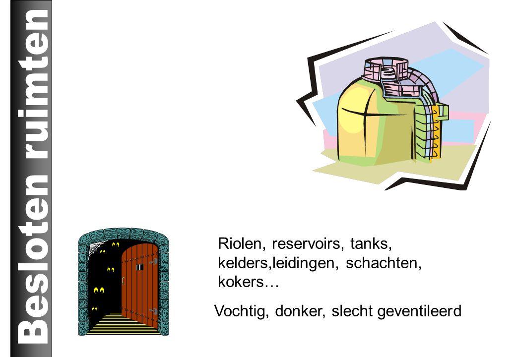 Riolen, reservoirs, tanks, kelders,leidingen, schachten, kokers… Vochtig, donker, slecht geventileerd