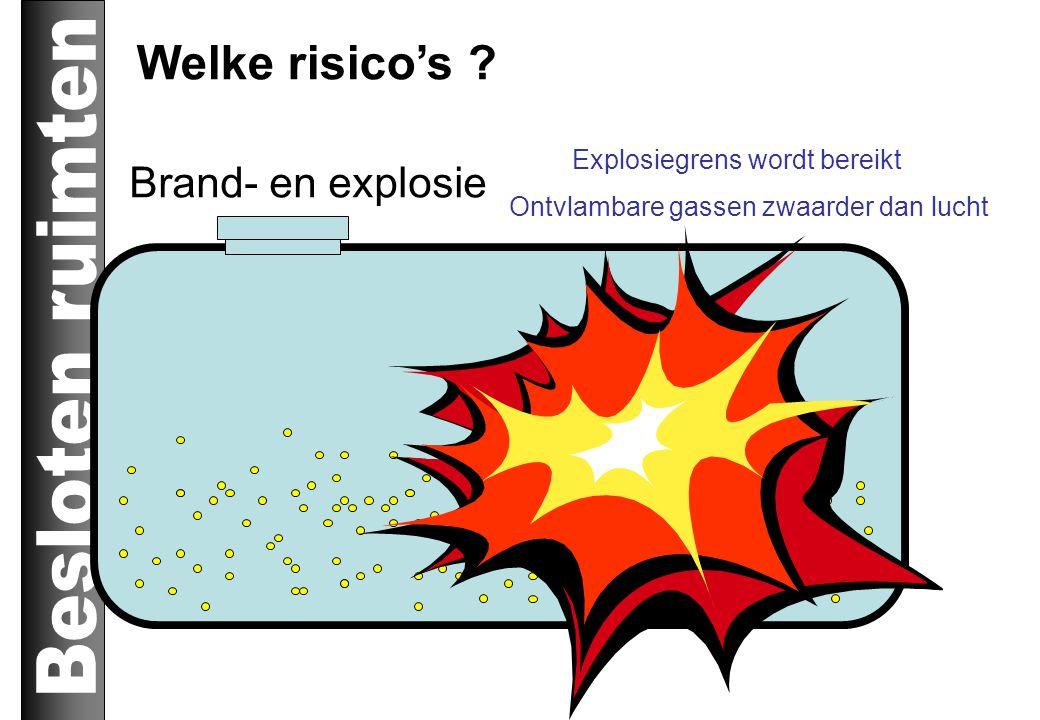 Brand- en explosie Explosiegrens wordt bereikt Ontvlambare gassen zwaarder dan lucht Welke risico's ?