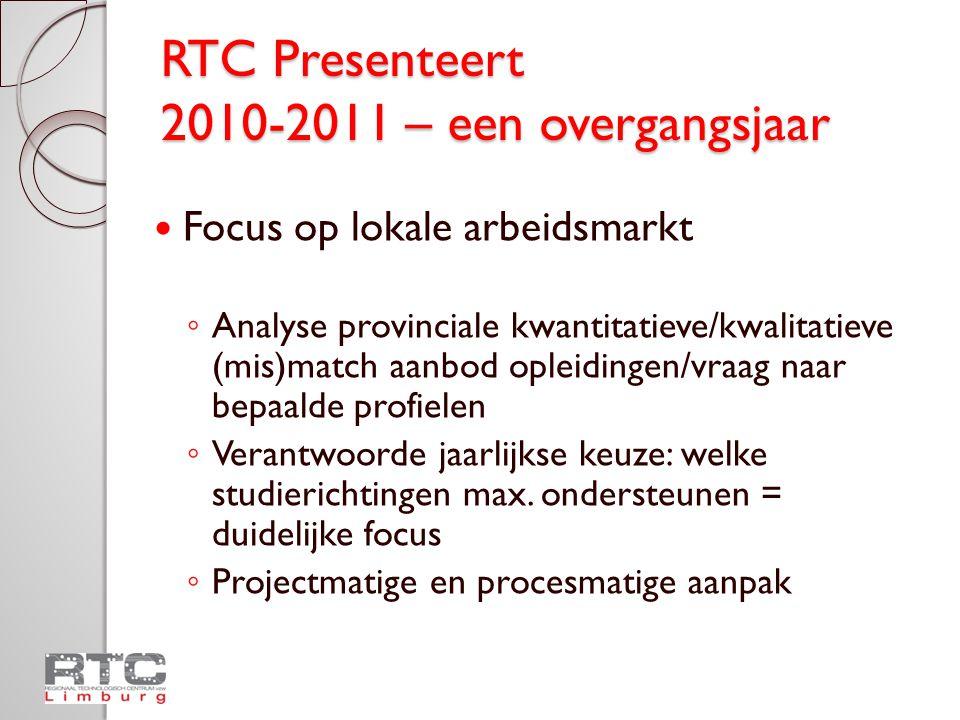 RTC Presenteert 2010-2011 – een overgangsjaar Focus op lokale arbeidsmarkt ◦ Analyse provinciale kwantitatieve/kwalitatieve (mis)match aanbod opleidingen/vraag naar bepaalde profielen ◦ Verantwoorde jaarlijkse keuze: welke studierichtingen max.