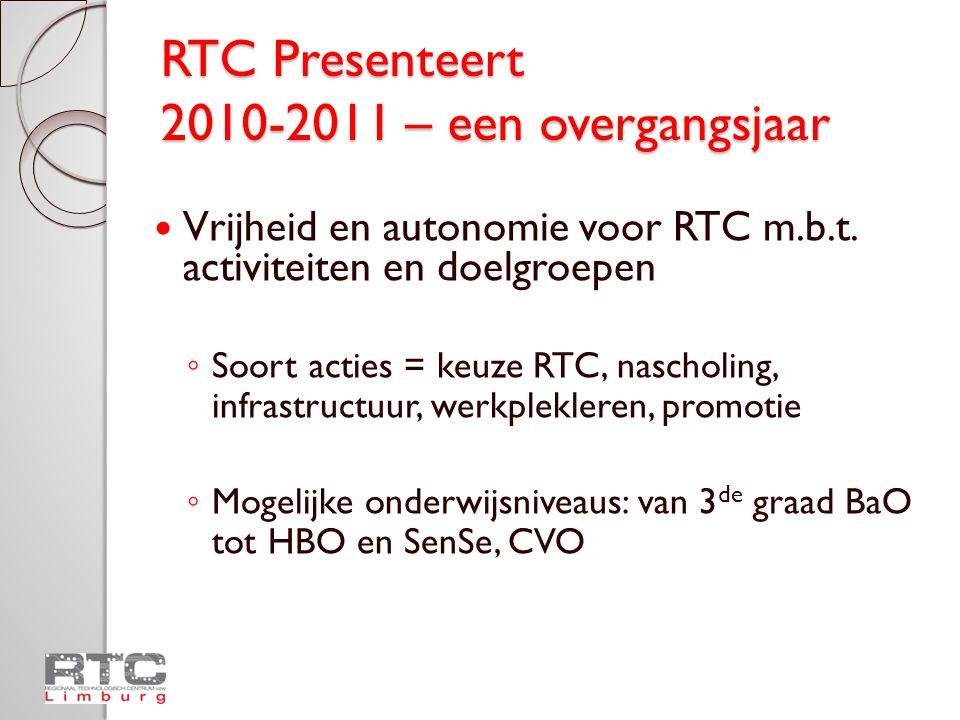 RTC Presenteert Aanbod najaar 2010 Praktische modaliteiten ◦ Inschrijvingen ◦ Vervoerskosten ◦ www.rtclimburg.be www.rtclimburg.be