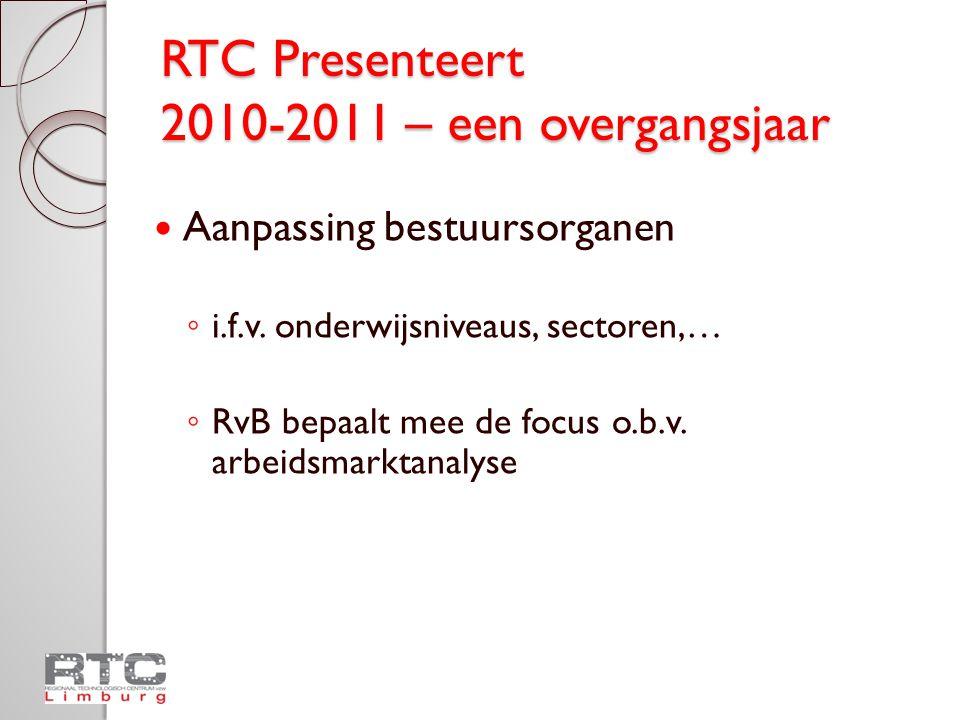 RTC Presenteert 2010-2011 – een overgangsjaar Eerste ontwerpversie beheersovereenkomst Decretale opdrachten en opgelegde taken blijven behouden Voorbereidingen voor nieuwe aanpak Financiële middelen?