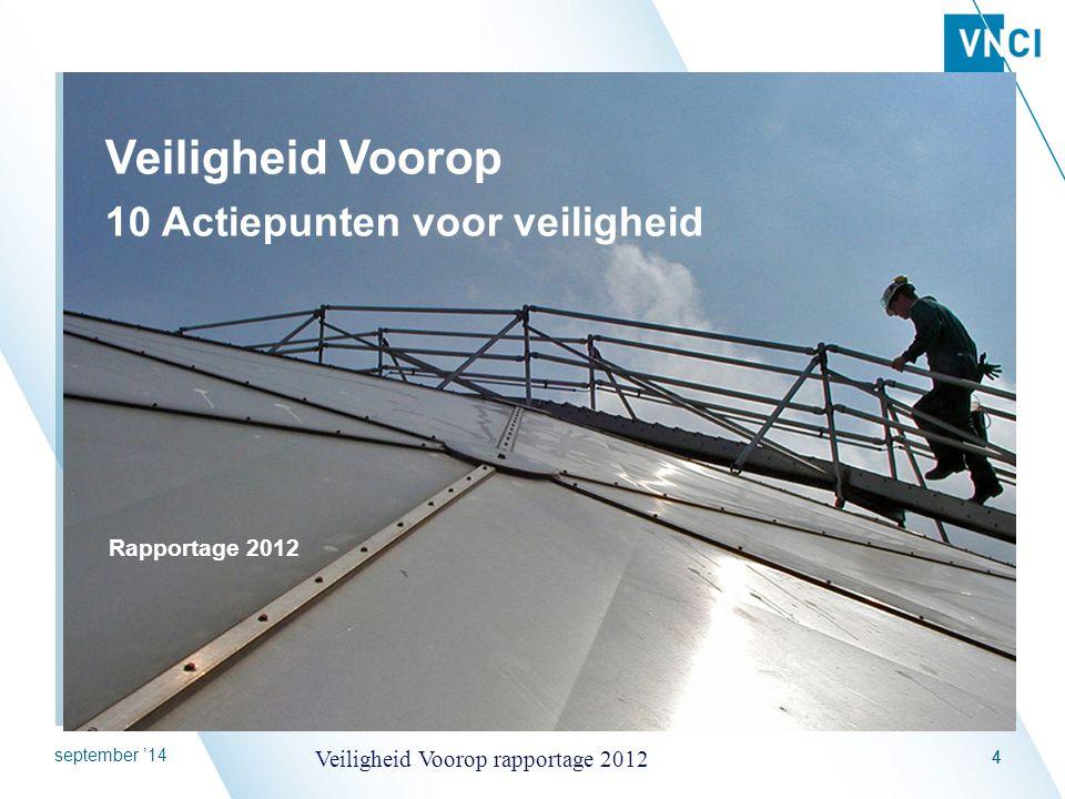 september '14 Veiligheid Voorop rapportage 2012 55 Hoofddoel van het actieplan Leren over veiligheid bevorderen Proces tot verhoging van de veiligheid ondersteunen
