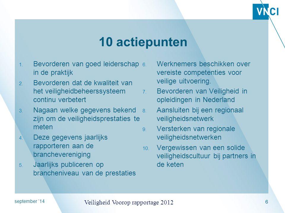 september '14 Veiligheid Voorop rapportage 2012 7 IndicatorMetricFormule/berekening Betrokken leiderschapAantal inspecties door de hoogste leidinggevenden op de site per 100 fte.