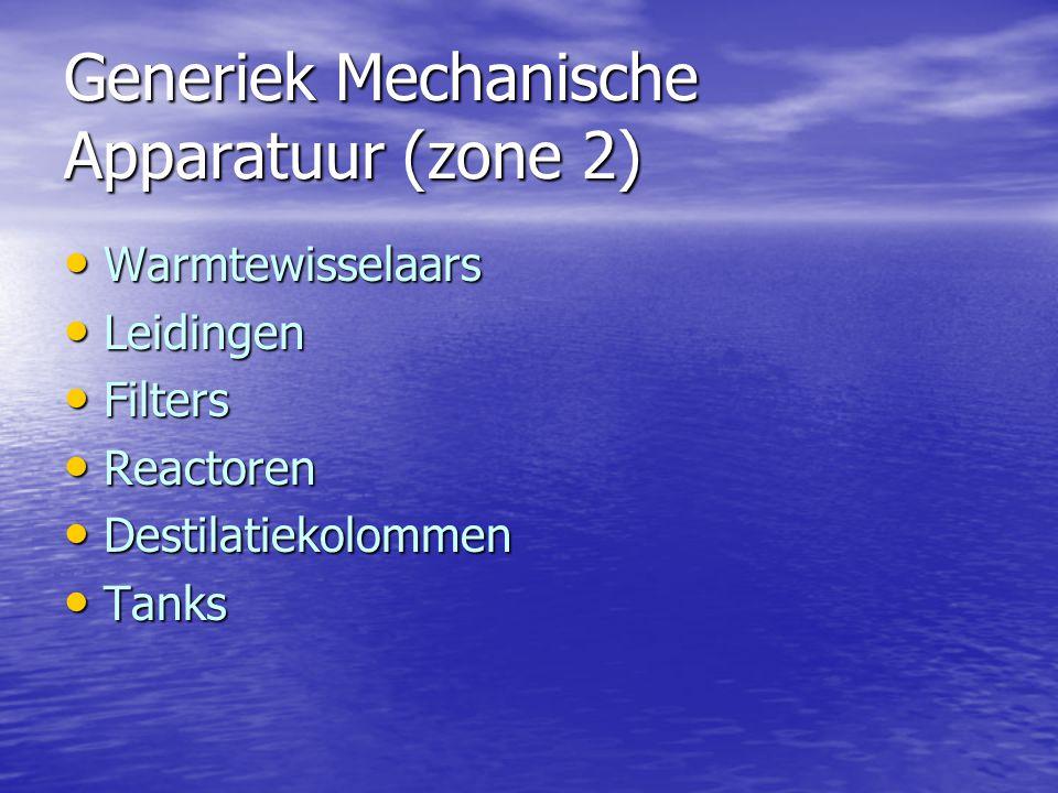 Generiek Mechanische Apparatuur (zone 2) Warmtewisselaars Warmtewisselaars Leidingen Leidingen Filters Filters Reactoren Reactoren Destilatiekolommen