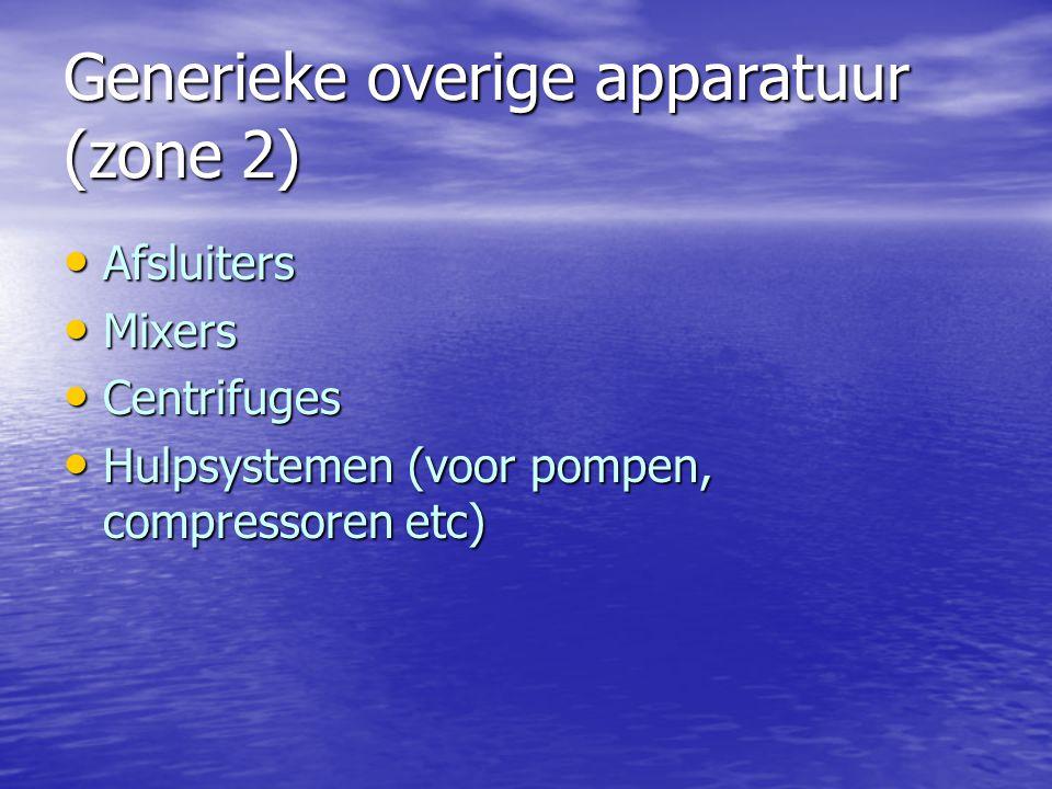 Generieke overige apparatuur (zone 2) Afsluiters Afsluiters Mixers Mixers Centrifuges Centrifuges Hulpsystemen (voor pompen, compressoren etc) Hulpsys