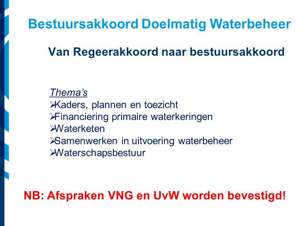Bestuursakkoord Doelmatig Waterbeheer Van Regeerakkoord naar bestuursakkoord NB: Afspraken VNG en UvW worden bevestigd.