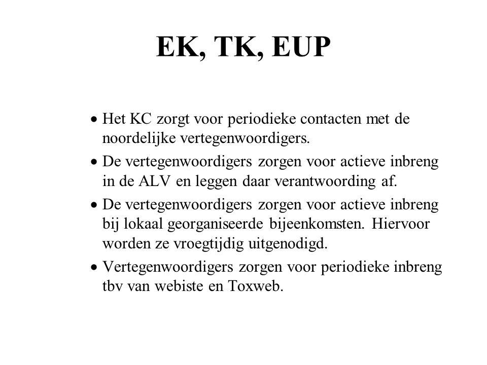 EK, TK, EUP  Het KC zorgt voor periodieke contacten met de noordelijke vertegenwoordigers.