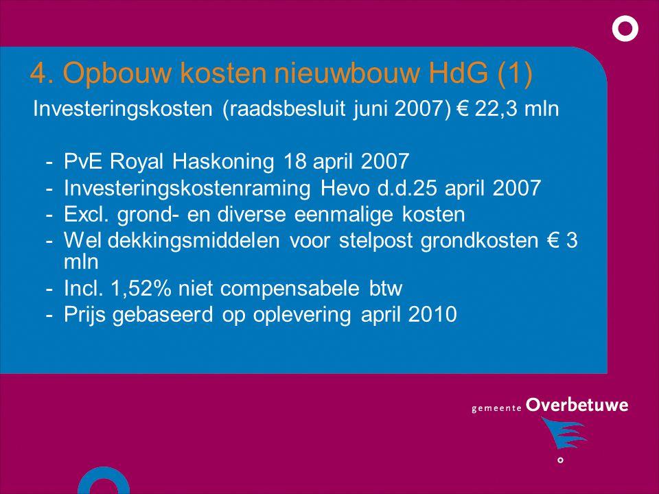 4. Opbouw kosten nieuwbouw HdG (1) Investeringskosten (raadsbesluit juni 2007) € 22,3 mln -PvE Royal Haskoning 18 april 2007 -Investeringskostenraming