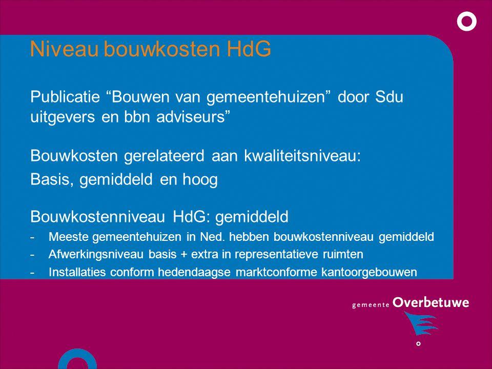 Niveau bouwkosten HdG Publicatie Bouwen van gemeentehuizen door Sdu uitgevers en bbn adviseurs Bouwkosten gerelateerd aan kwaliteitsniveau: Basis, gemiddeld en hoog Bouwkostenniveau HdG: gemiddeld -Meeste gemeentehuizen in Ned.