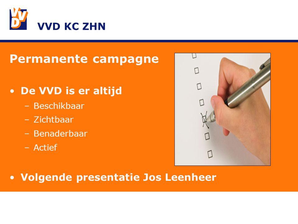 VVD KC ZHN Permanente campagne De VVD is er altijd –Beschikbaar –Zichtbaar –Benaderbaar –Actief Volgende presentatie Jos Leenheer
