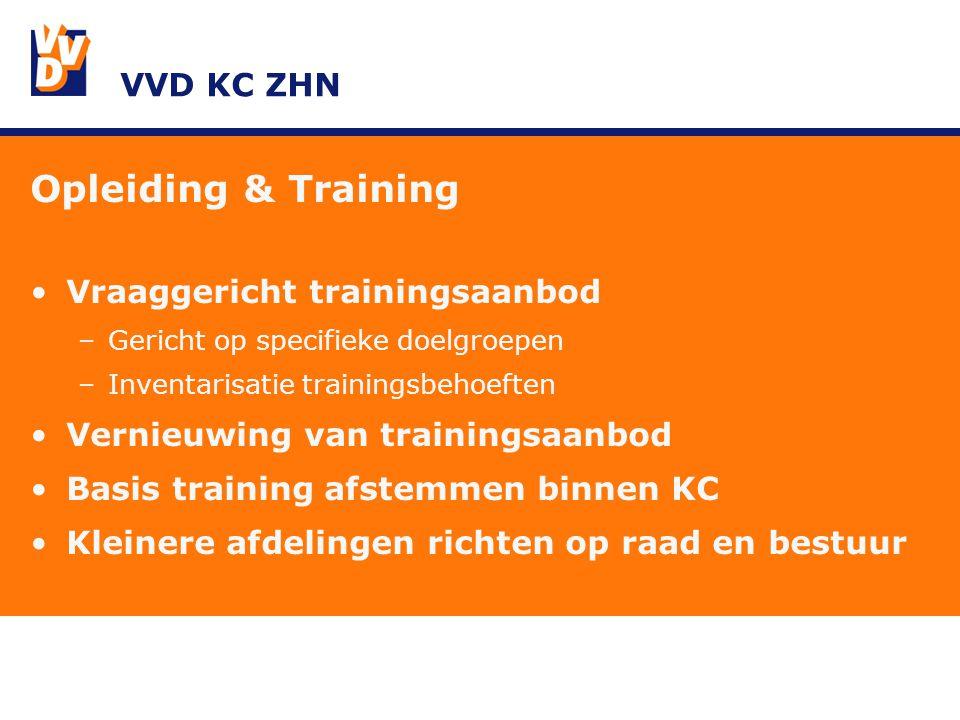VVD KC ZHN Opleiding & Training Vraaggericht trainingsaanbod –Gericht op specifieke doelgroepen –Inventarisatie trainingsbehoeften Vernieuwing van trainingsaanbod Basis training afstemmen binnen KC Kleinere afdelingen richten op raad en bestuur