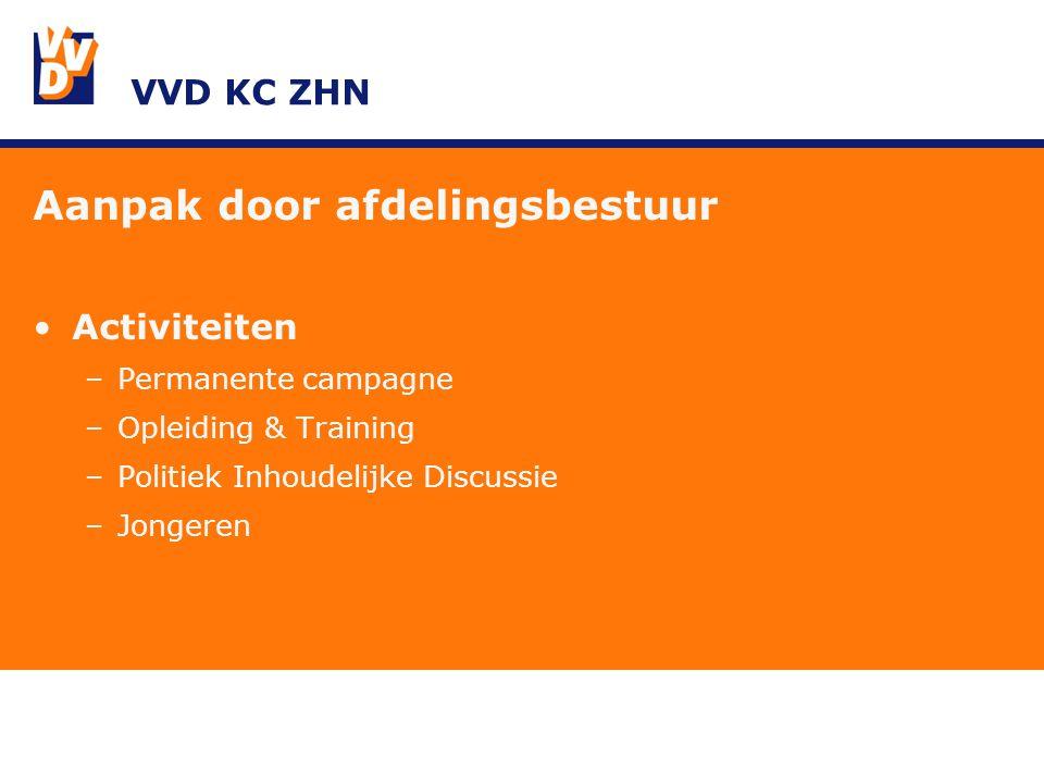 VVD KC ZHN Aanpak door afdelingsbestuur Activiteiten –Permanente campagne –Opleiding & Training –Politiek Inhoudelijke Discussie –Jongeren