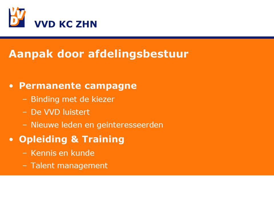 VVD KC ZHN Aanpak door afdelingsbestuur Permanente campagne –Binding met de kiezer –De VVD luistert –Nieuwe leden en geinteresseerden Opleiding & Training –Kennis en kunde –Talent management