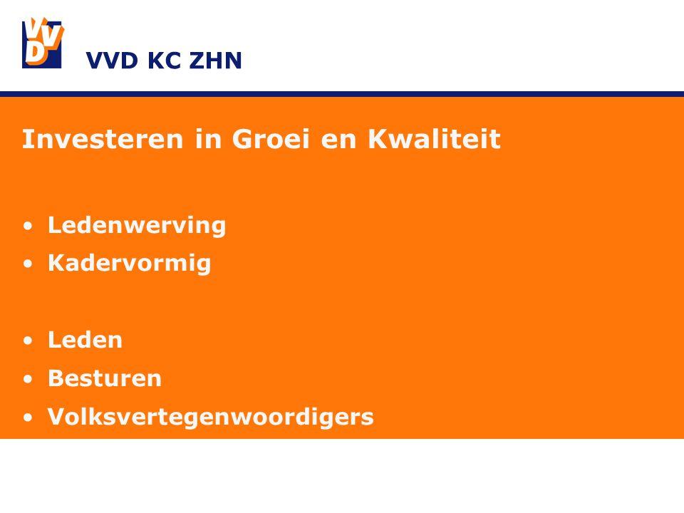 VVD KC ZHN Investeren in Groei en Kwaliteit Ledenwerving Kadervormig Leden Besturen Volksvertegenwoordigers