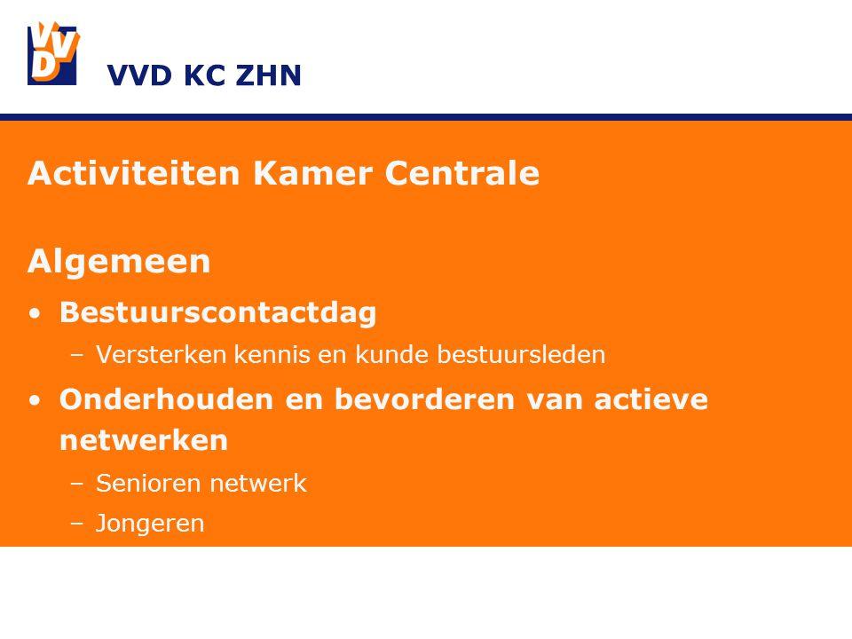 VVD KC ZHN Activiteiten Kamer Centrale Algemeen Bestuurscontactdag –Versterken kennis en kunde bestuursleden Onderhouden en bevorderen van actieve netwerken –Senioren netwerk –Jongeren