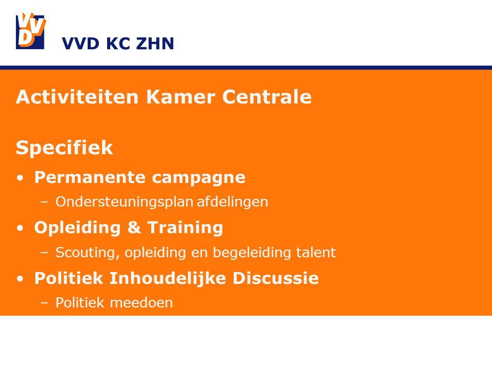 VVD KC ZHN Activiteiten Kamer Centrale Specifiek Permanente campagne –Ondersteuningsplan afdelingen Opleiding & Training –Scouting, opleiding en begeleiding talent Politiek Inhoudelijke Discussie –Politiek meedoen