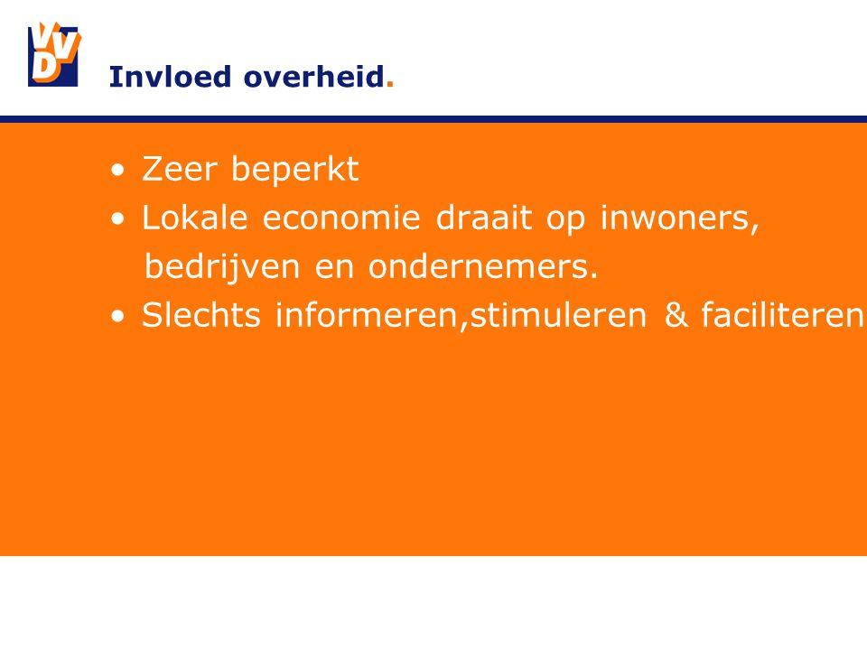 Invloed overheid. Zeer beperkt Lokale economie draait op inwoners, bedrijven en ondernemers.