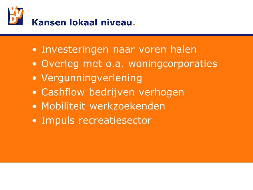 Kansen lokaal niveau. Investeringen naar voren halen Overleg met o.a.