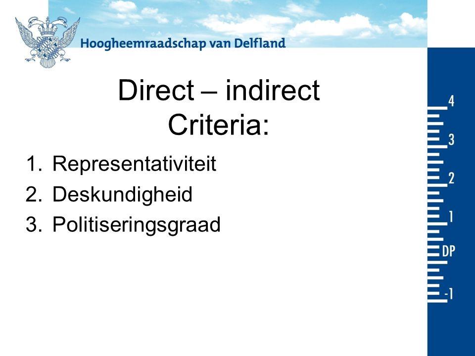 Direct – indirect Criteria: 1.Representativiteit 2.Deskundigheid 3.Politiseringsgraad