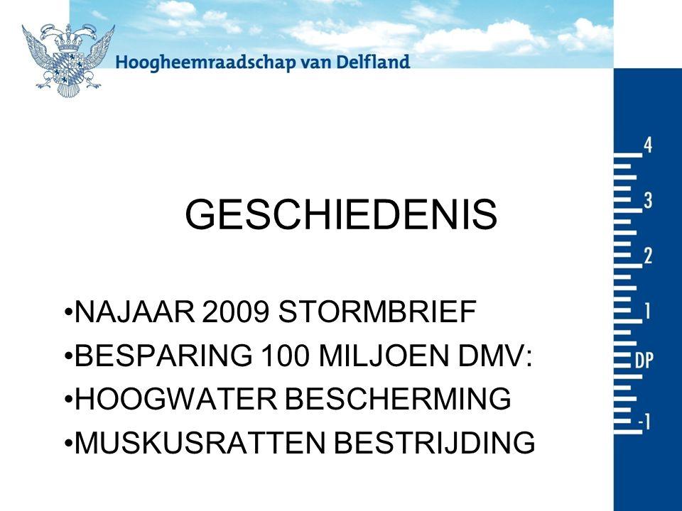 GESCHIEDENIS NAJAAR 2009 STORMBRIEF BESPARING 100 MILJOEN DMV: HOOGWATER BESCHERMING MUSKUSRATTEN BESTRIJDING
