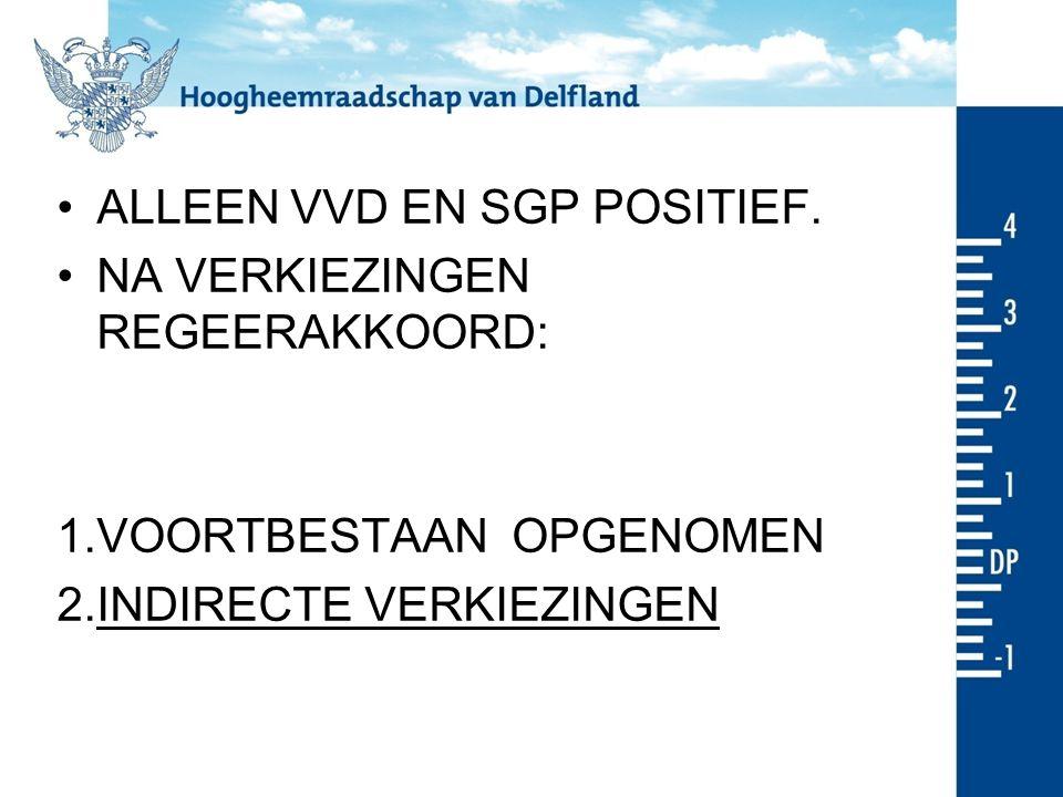 ALLEEN VVD EN SGP POSITIEF.