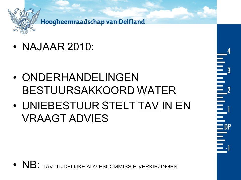 NAJAAR 2010: ONDERHANDELINGEN BESTUURSAKKOORD WATER UNIEBESTUUR STELT TAV IN EN VRAAGT ADVIES NB: TAV: TIJDELIJKE ADVIESCOMMISSIE VERKIEZINGEN