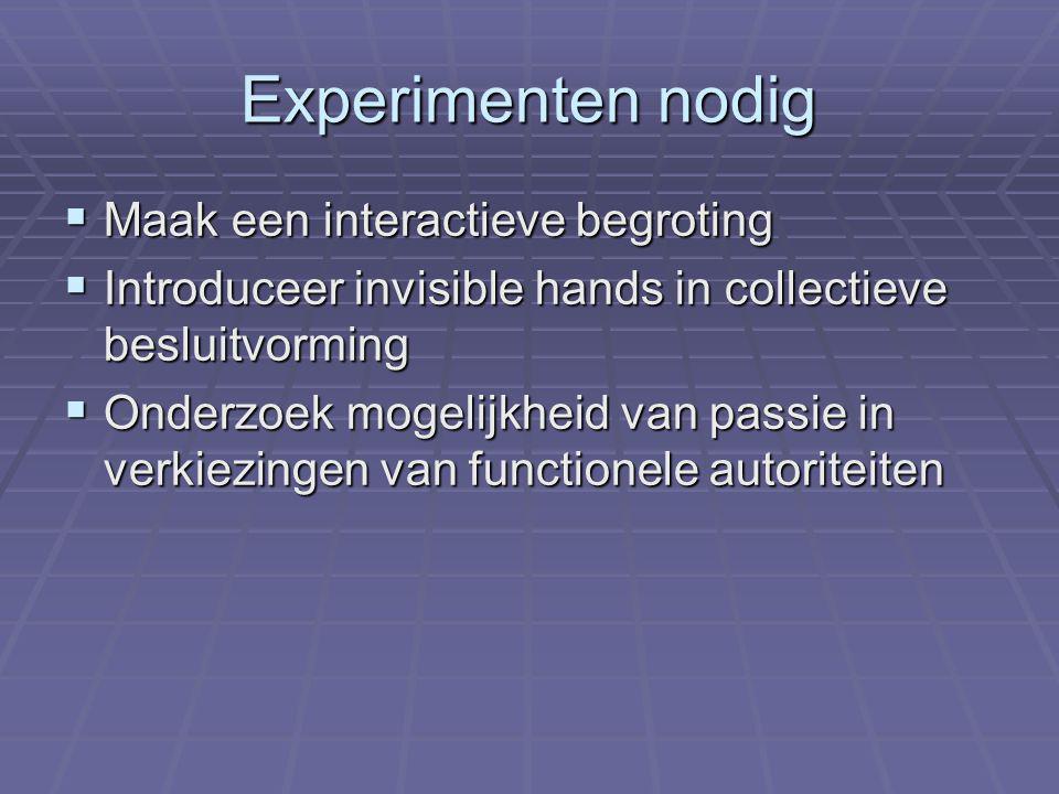 Experimenten nodig  Maak een interactieve begroting  Introduceer invisible hands in collectieve besluitvorming  Onderzoek mogelijkheid van passie in verkiezingen van functionele autoriteiten