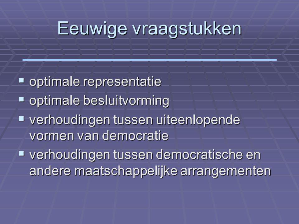 Eeuwige vraagstukken  optimale representatie  optimale besluitvorming  verhoudingen tussen uiteenlopende vormen van democratie  verhoudingen tussen democratische en andere maatschappelijke arrangementen