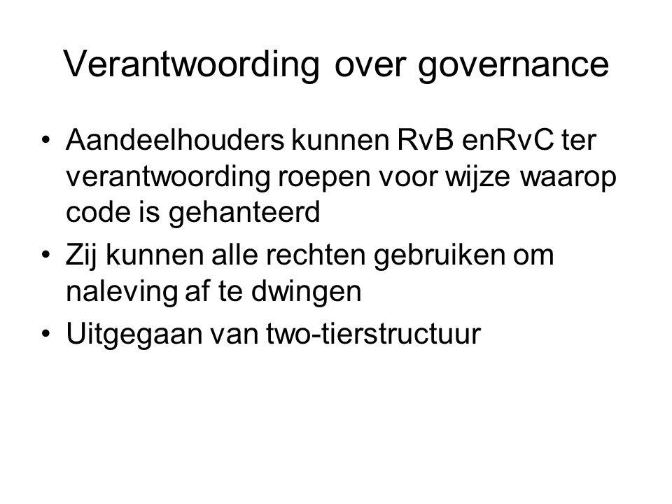 Verantwoording over governance Aandeelhouders kunnen RvB enRvC ter verantwoording roepen voor wijze waarop code is gehanteerd Zij kunnen alle rechten