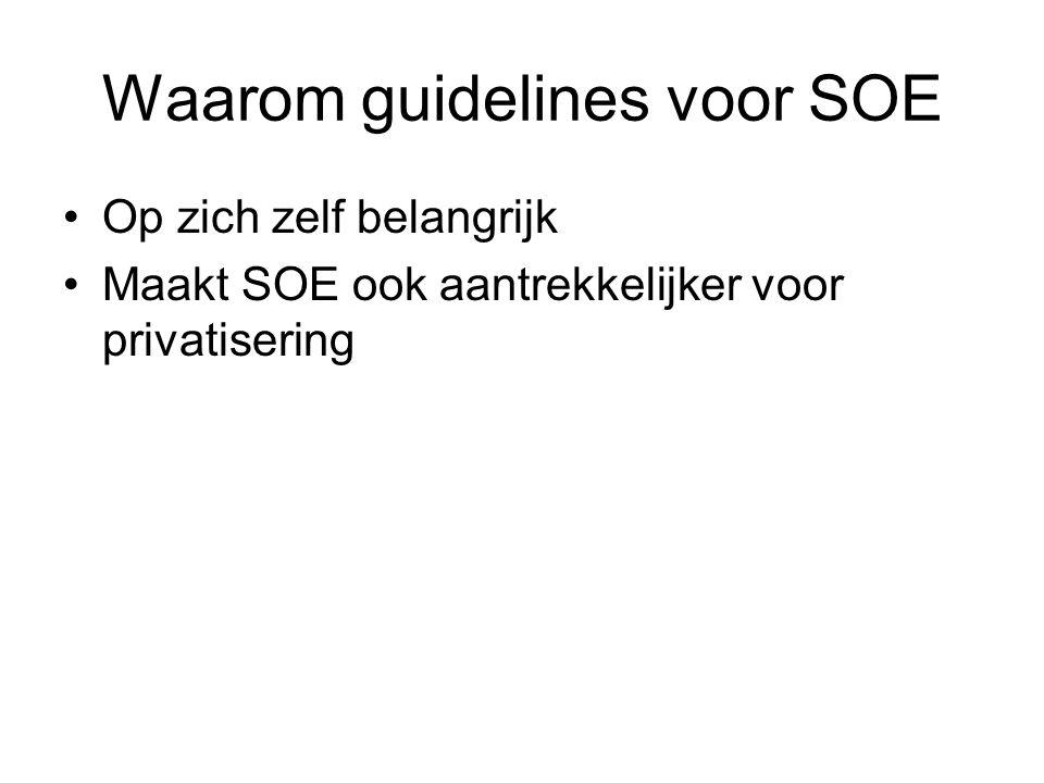 Redenen voor state-ownership Natuurlijk monopolie Regionaal ontwikkelingsbeleid Industriebeleid Productie collectieve goederen (in NL ook wel rol voor SOE als voortrekker/controlegroep, bijv.