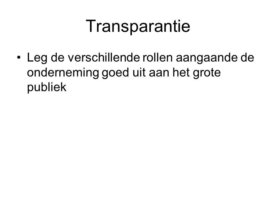 Transparantie Leg de verschillende rollen aangaande de onderneming goed uit aan het grote publiek