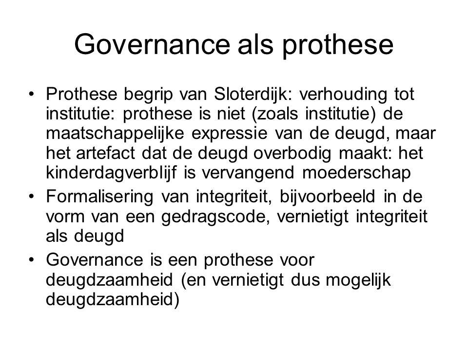 Governance als prothese Prothese begrip van Sloterdijk: verhouding tot institutie: prothese is niet (zoals institutie) de maatschappelijke expressie v
