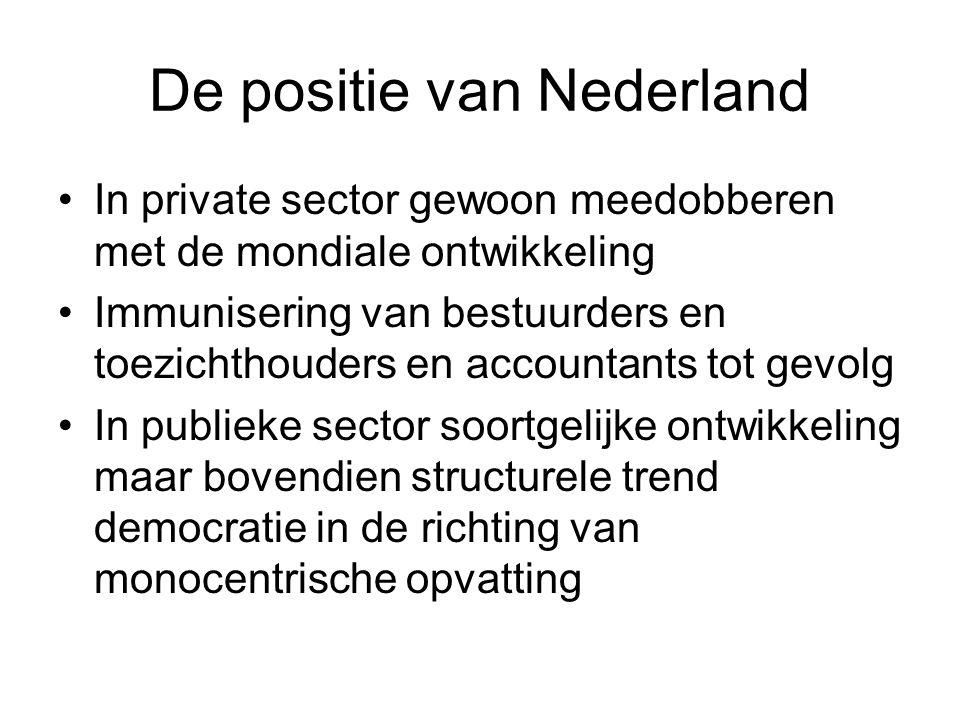 De positie van Nederland In private sector gewoon meedobberen met de mondiale ontwikkeling Immunisering van bestuurders en toezichthouders en accounta