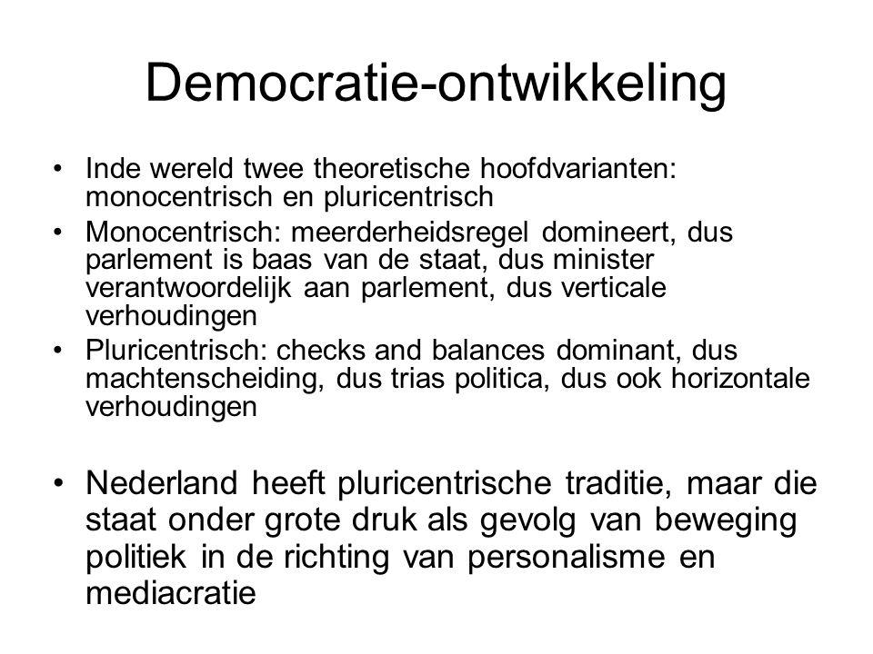 Democratie-ontwikkeling Inde wereld twee theoretische hoofdvarianten: monocentrisch en pluricentrisch Monocentrisch: meerderheidsregel domineert, dus