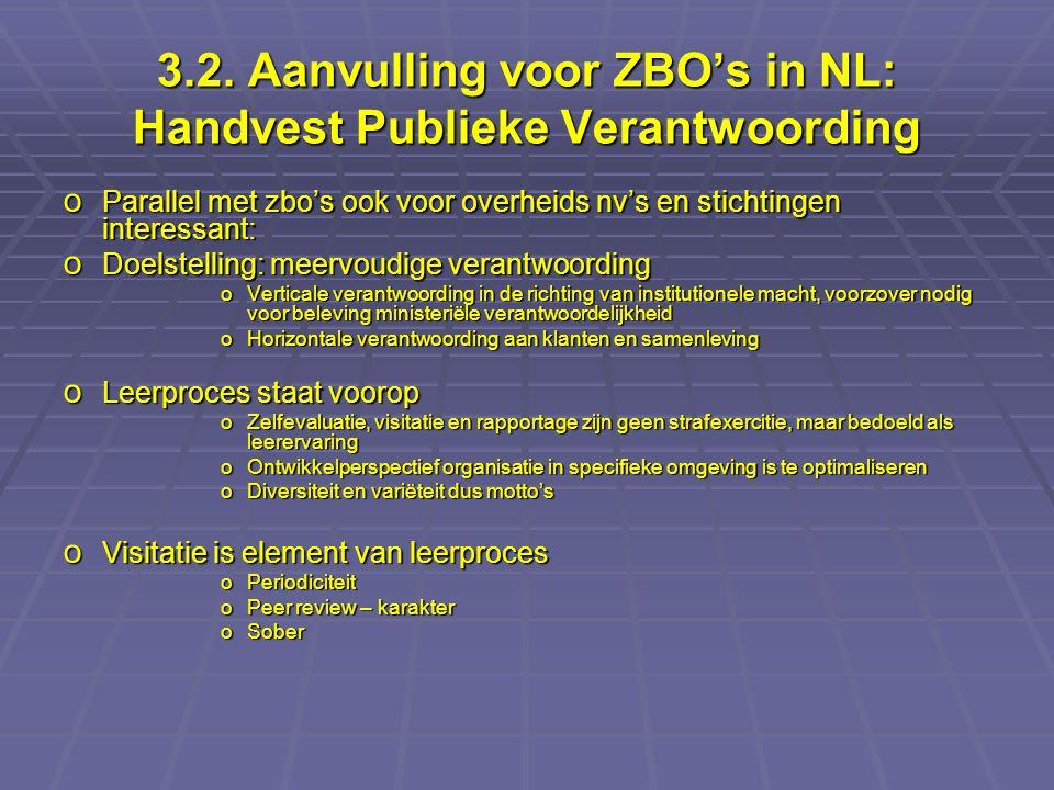 3.2. Aanvulling voor ZBO's in NL: Handvest Publieke Verantwoording o Parallel met zbo's ook voor overheids nv's en stichtingen interessant: o Doelstel