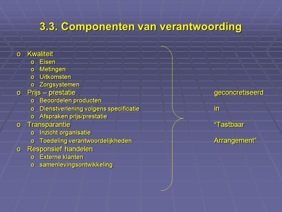 3.3. Componenten van verantwoording oKwaliteit oEisen oMetingen oUitkomsten oZorgsystemen oPrijs – prestatiegeconcretiseerd oBeoordelen producten oDie