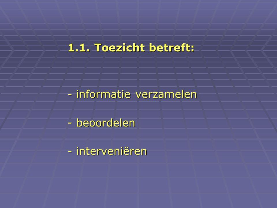 1.1. Toezicht betreft: - informatie verzamelen - beoordelen - interveniëren